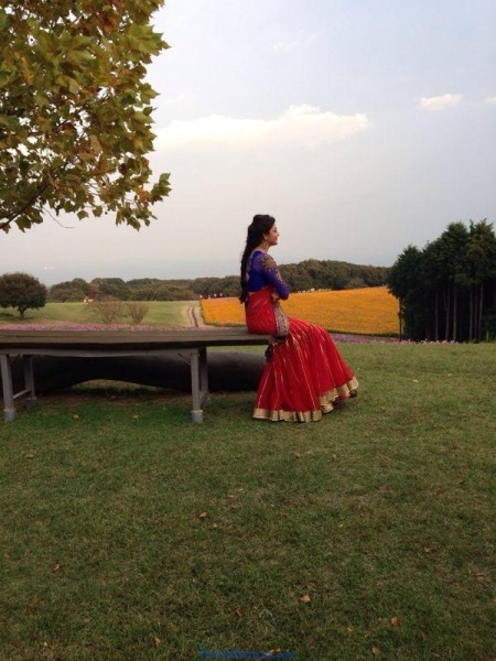 Kajal Aggarwal Outdoor Photoshoot Pic in Half Saree.