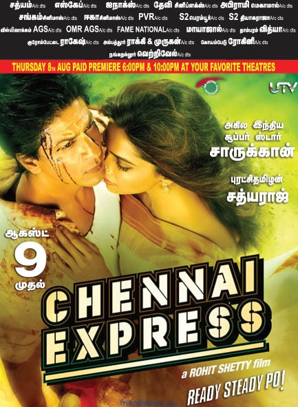Chennai Express Movie Tamil Version Theater List-Poster